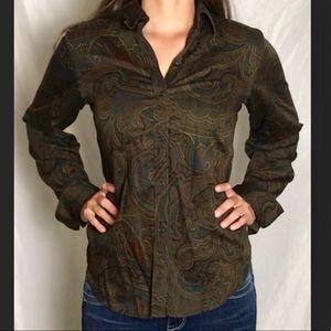 Ralph Lauren dark brown paisley blouse medium